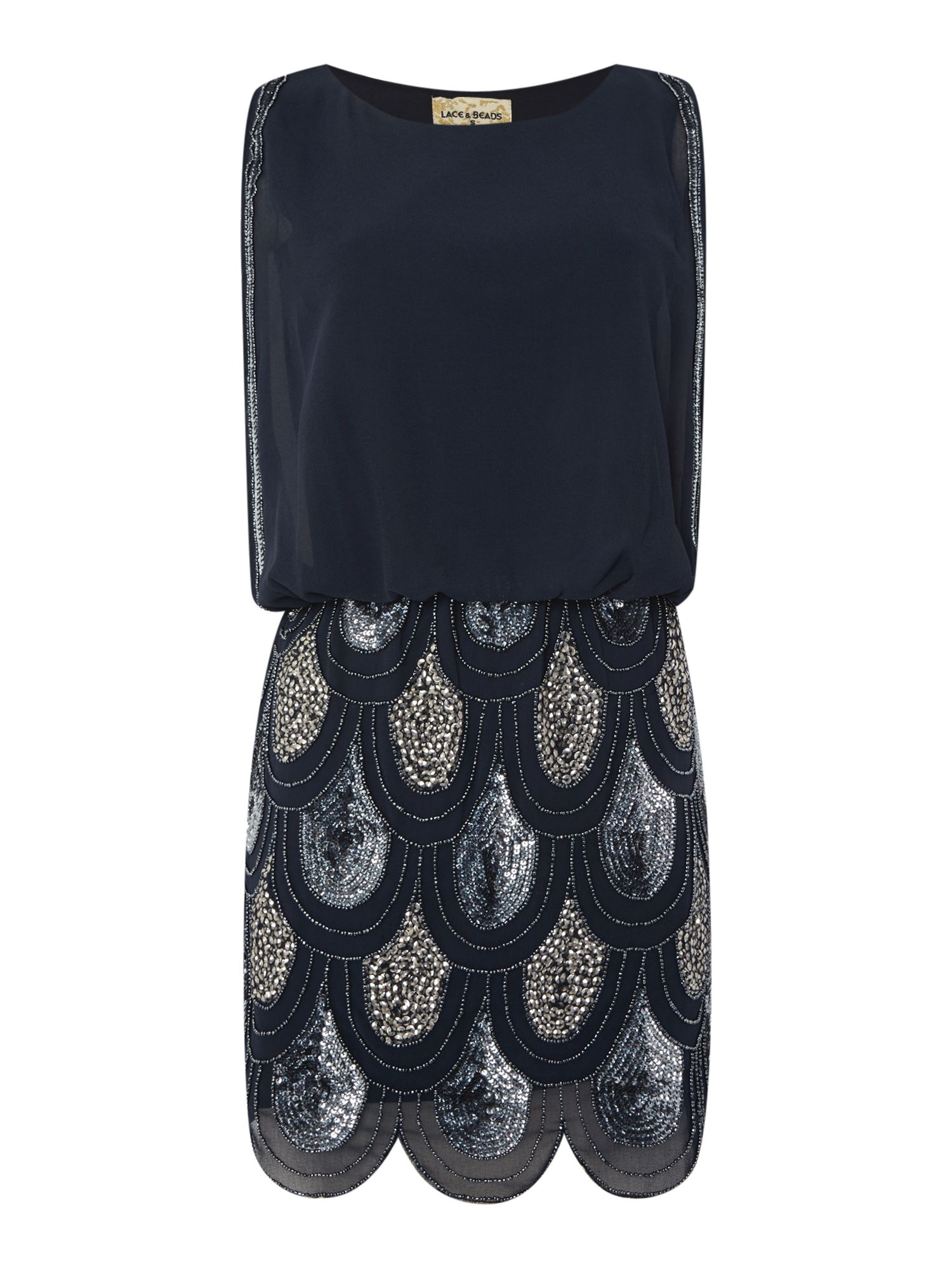 Lace and Beads Lace and Beads Sleeveless Blouson Top Sequin Detail Dress, Navy