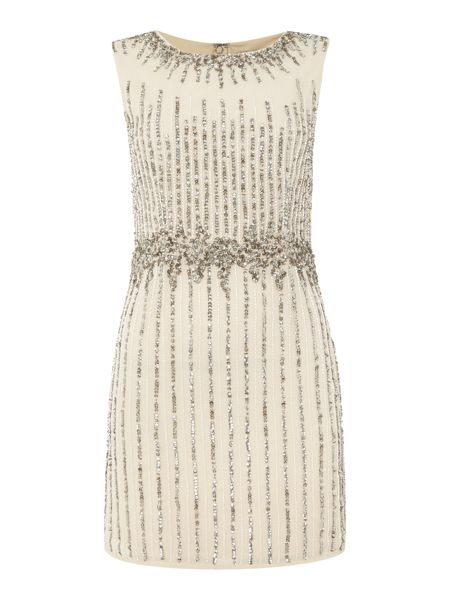 Lace and Beads Sleeveless Vertical Sequin Detail Dress