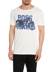 Crew Neck Regular Fit T-Shirt In Motorbike Print