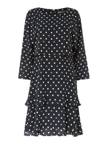 Spot print layered dress