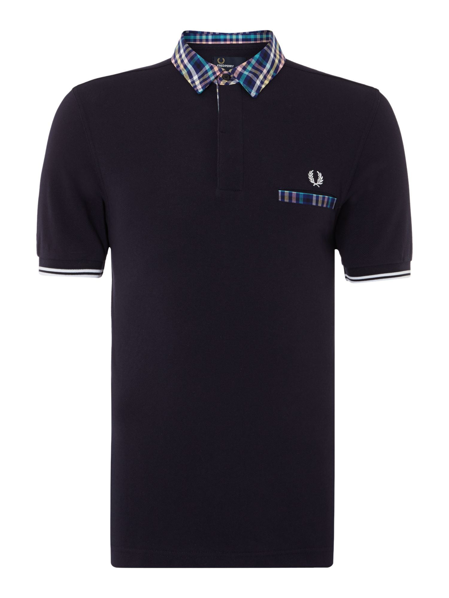 Mens Fred Perry Slim Fit Trim Tipped Polo Shirt Navy