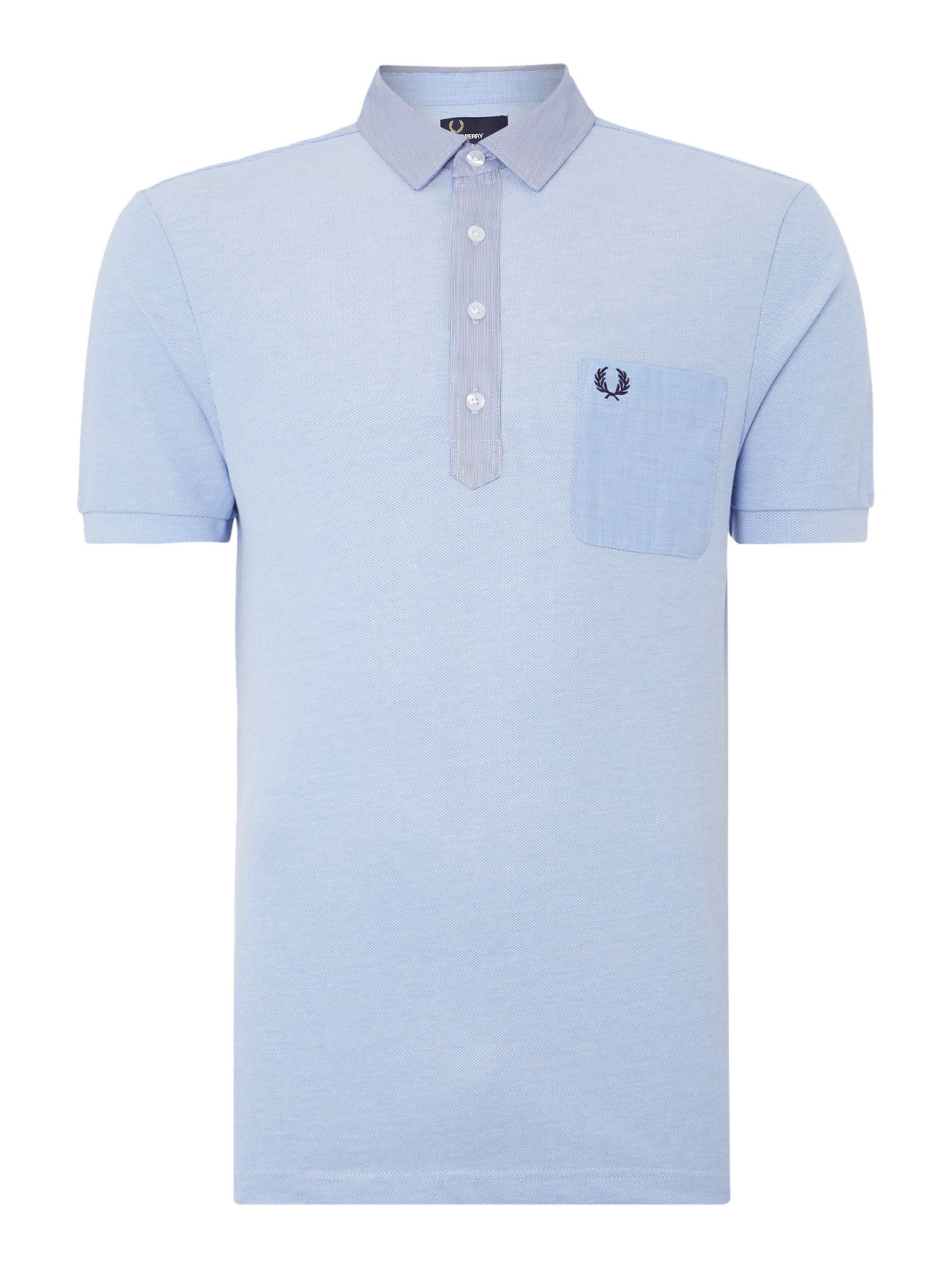 Mens Fred Perry Plain Regular Fit Woven Trim Polo Shirt Grey