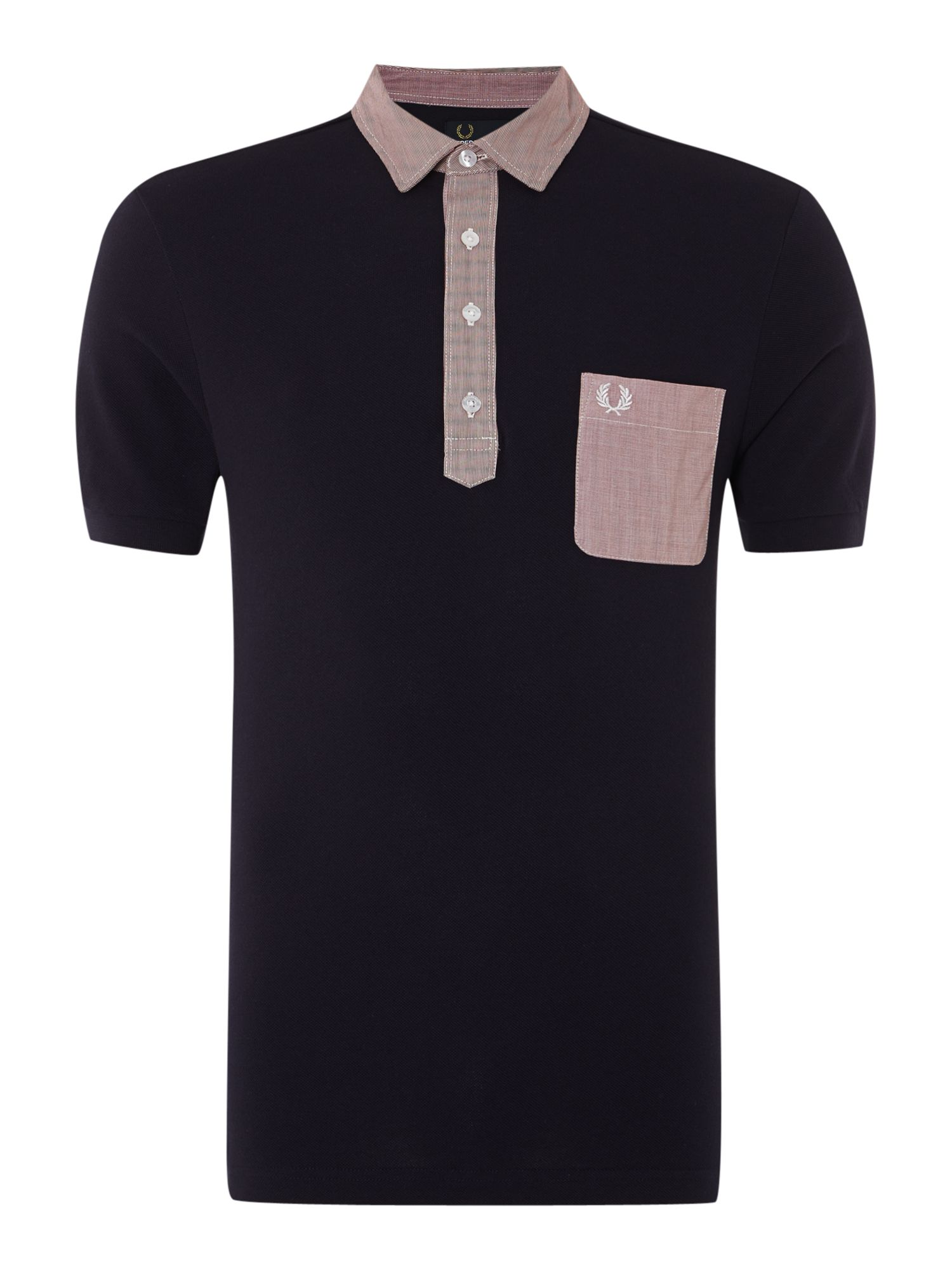 Mens Fred Perry Plain Regular Fit Woven Trim Polo Shirt Navy