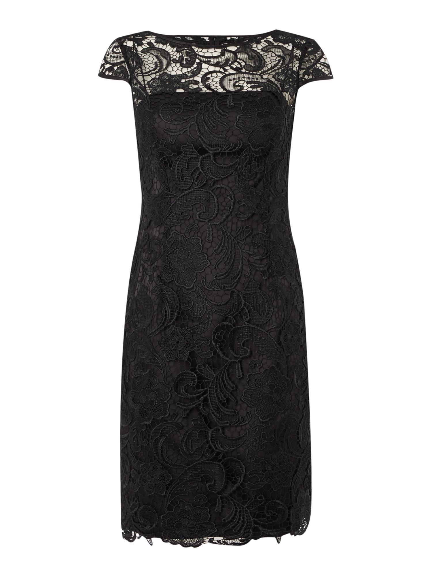 Adrianna Papell All over guipure lace dress Black