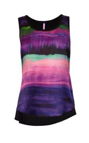 Painterly stripe silk front vest