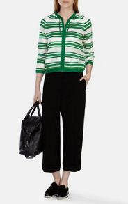 Placed stripe knit cardigan