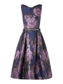 Sleeveless floral with beaded waist dress