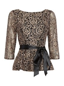 Eliza J Long sleeve metallic lace top with tie belt