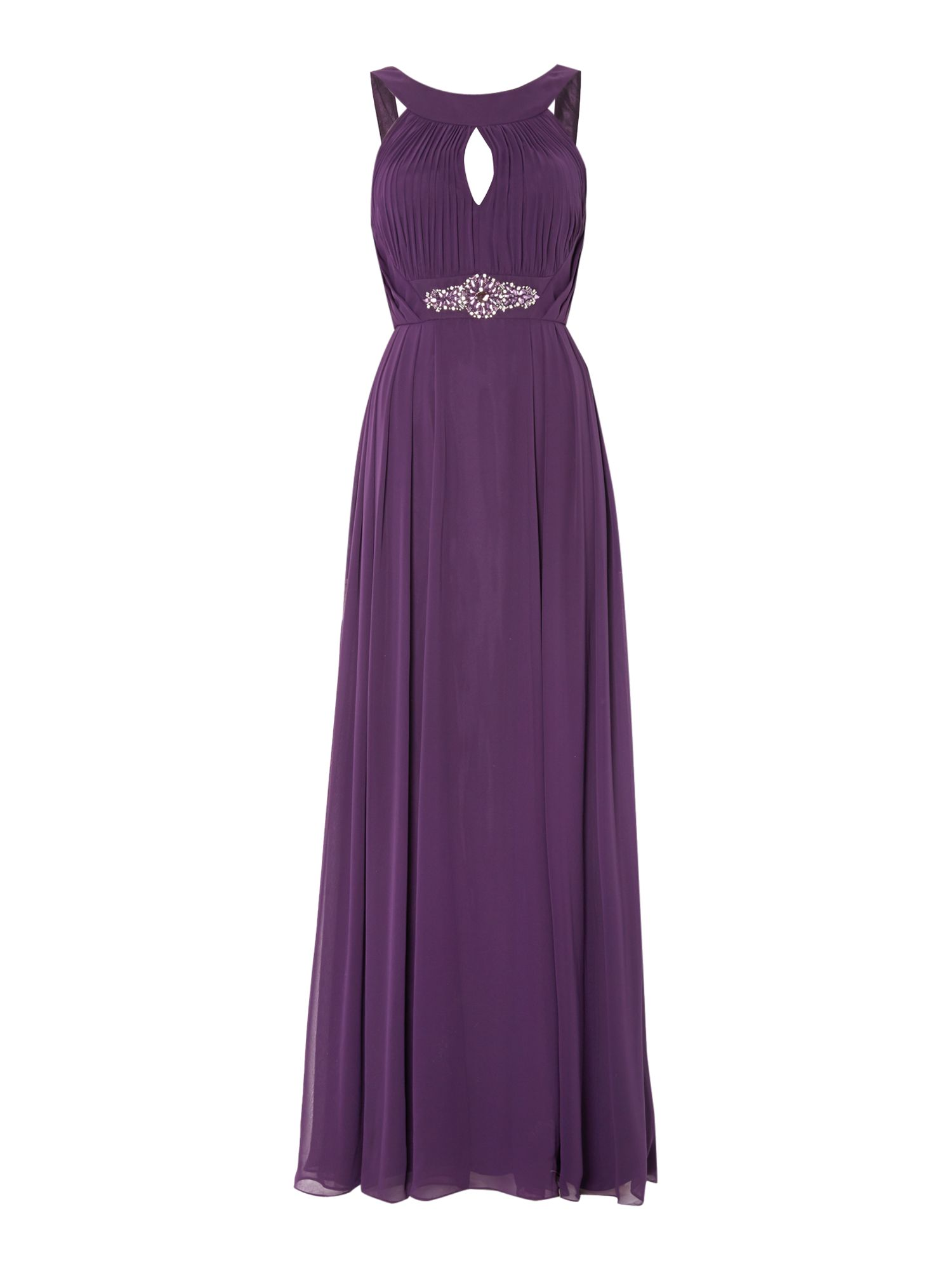 Eliza J Jersey keyhole gown with beaded waist $112.00 AT vintagedancer.com