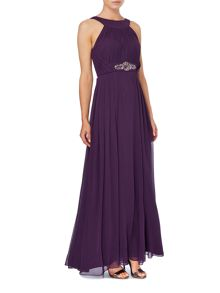 Jersey keyhole gown with beaded waist