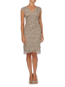 Tiered lace shift dress