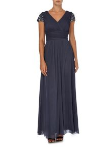 Beaded cap sleeve chiffion maxi dress