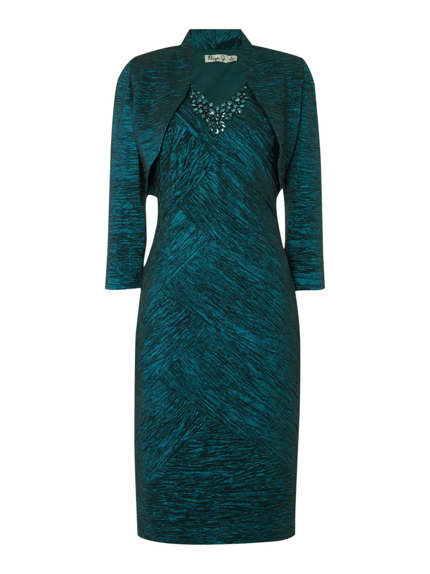 Eliza J Crushed taff dress with jacket, Green
