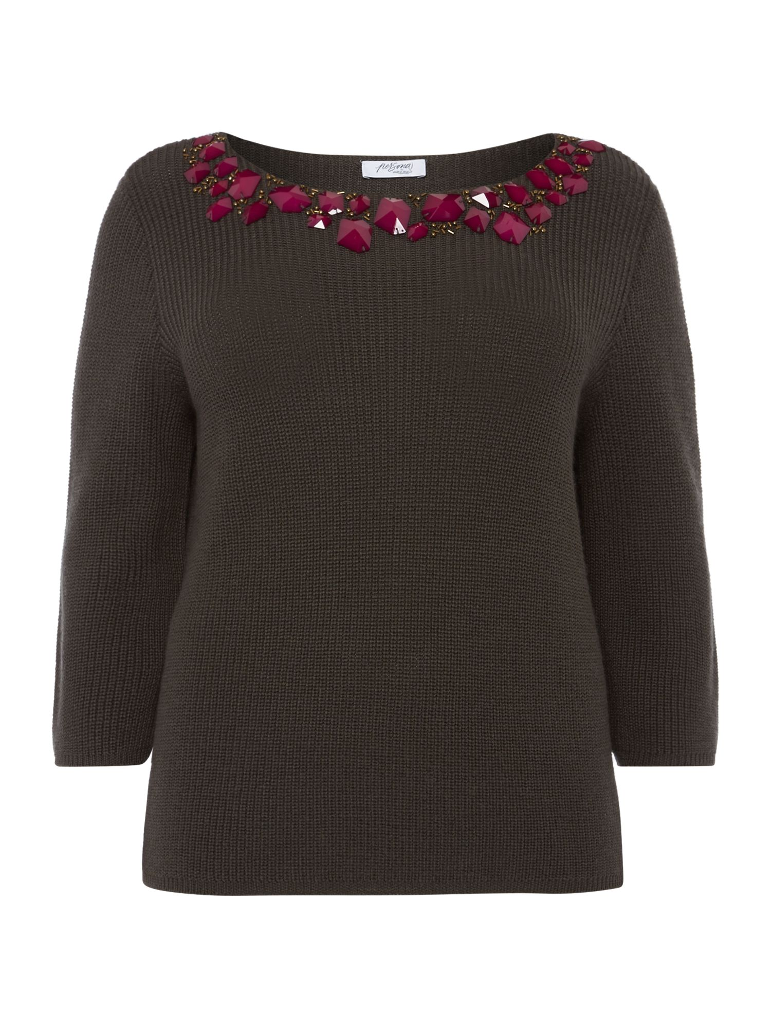 Persona Persona Knitted embellished front jumper, Khaki