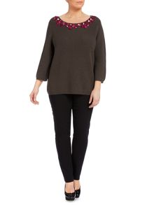 Knitted embellished front jumper