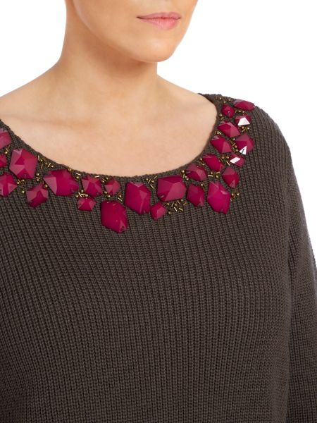 Persona Knitted embellished front jumper
