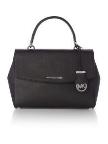 Ava black medium satchel bag