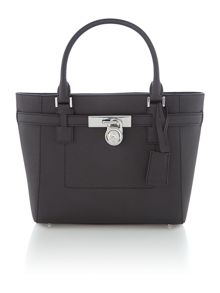 Hamilton black large zip top tote bag