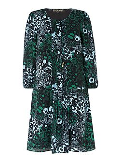 Biba Leopard print pleat detail dress