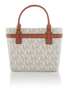 Hamilton neutral logo large zip top tote bag
