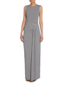 Sleeveless Striped Ruched Side Split Maxi Dress