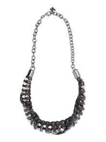 Max Mara Canada short leather necklace with jewels