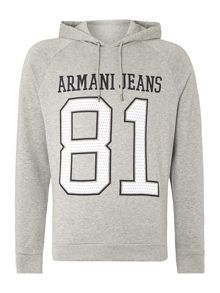 Armani Jeans Long Sleeve Hoodie With 81 Print