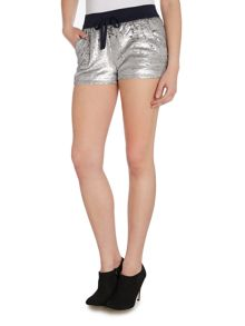 Sequin runner short in midnight