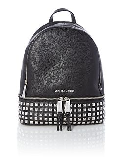 Rhea Zip black small studded backpack