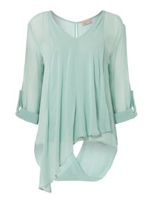 Long sleeve twist hem blouse
