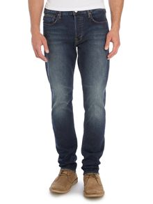Tapered Fit Dark Wash Faded Jeans