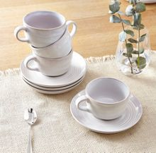 Echo White Cup and Saucer Set of 4