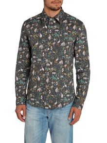 Paul Smith Jeans Tailored Fit Wildlife All Over Print Shirt