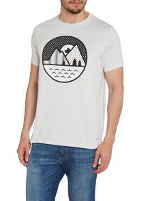 Crew Neck T-Shirt With A Mountain Graphic