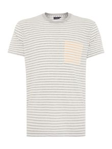 Contrast Pocket Striped Crew Neck T-Shirt