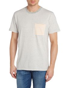Paul Smith Jeans Contrast Pocket Striped Crew Neck T-Shirt