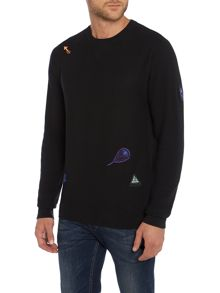 Regular Fit Embroidered Colour Graphic Sweatshirt