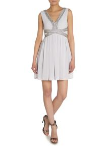 V Neck Embellished Wasit Dress