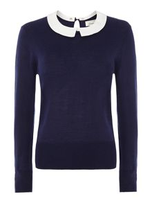 Merino detachable collar jumper