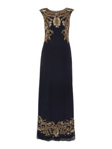 Cap sleeve gown with art deco beading