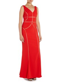 Sleeveless V neck gown with mesh cut out