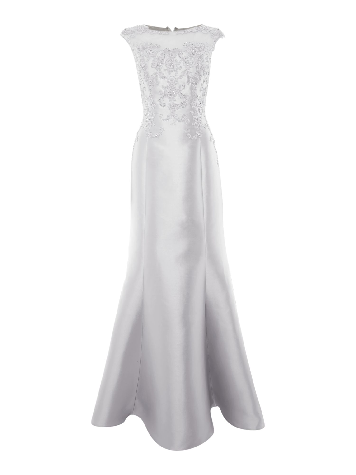 Js Collections JS Collections Cap sleeve gown with mesh illusion neckline, Silver