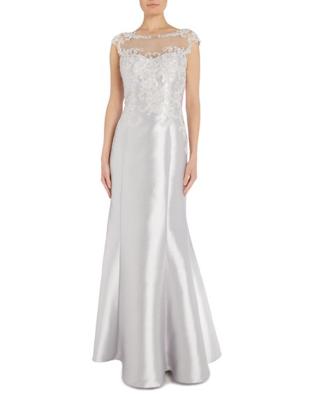 JS Collections Cap sleeve gown with mesh illusion neckline