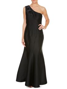JS Collections One shoulder gown with mesh back