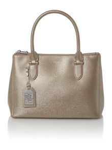 Newbury silver double zip tote bag
