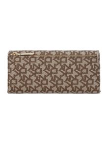 Coated logo tan large flap over purse