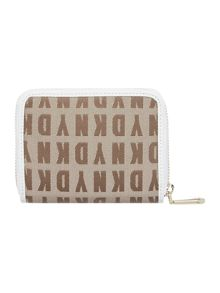 Saffiano neutral small zip around purse