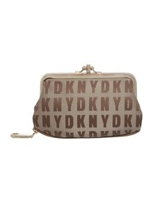 Saffiano neutral double frame small coin purse