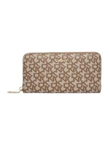 Coated logo tan large zip around purse
