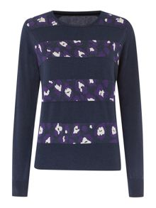 Biba Stripe and leopard jacquard jumper